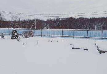 winter lawn with snow
